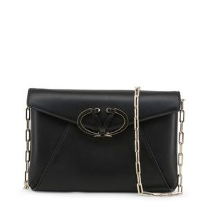 New Valentino Black Leather Clutch Crossbody Bag